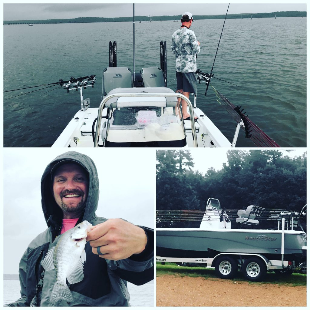 A collage of an aftermarket-rigged 227XTS NauticStar Boat with Jeffrey Hattaway showing his prize Crappie fish
