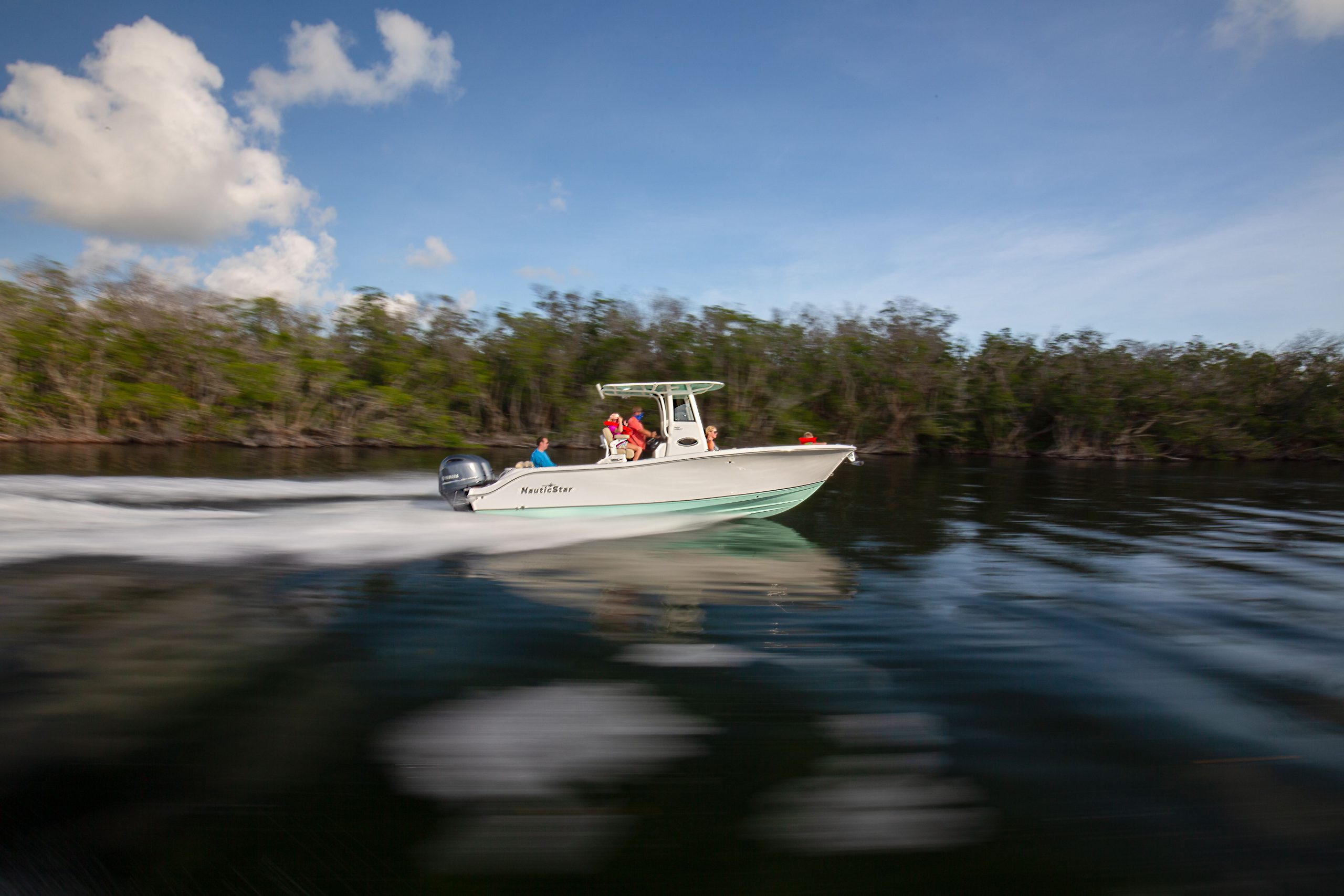 Motion Blur of a 2602 Legacy running through a cut to offshore Key Largo, Florida